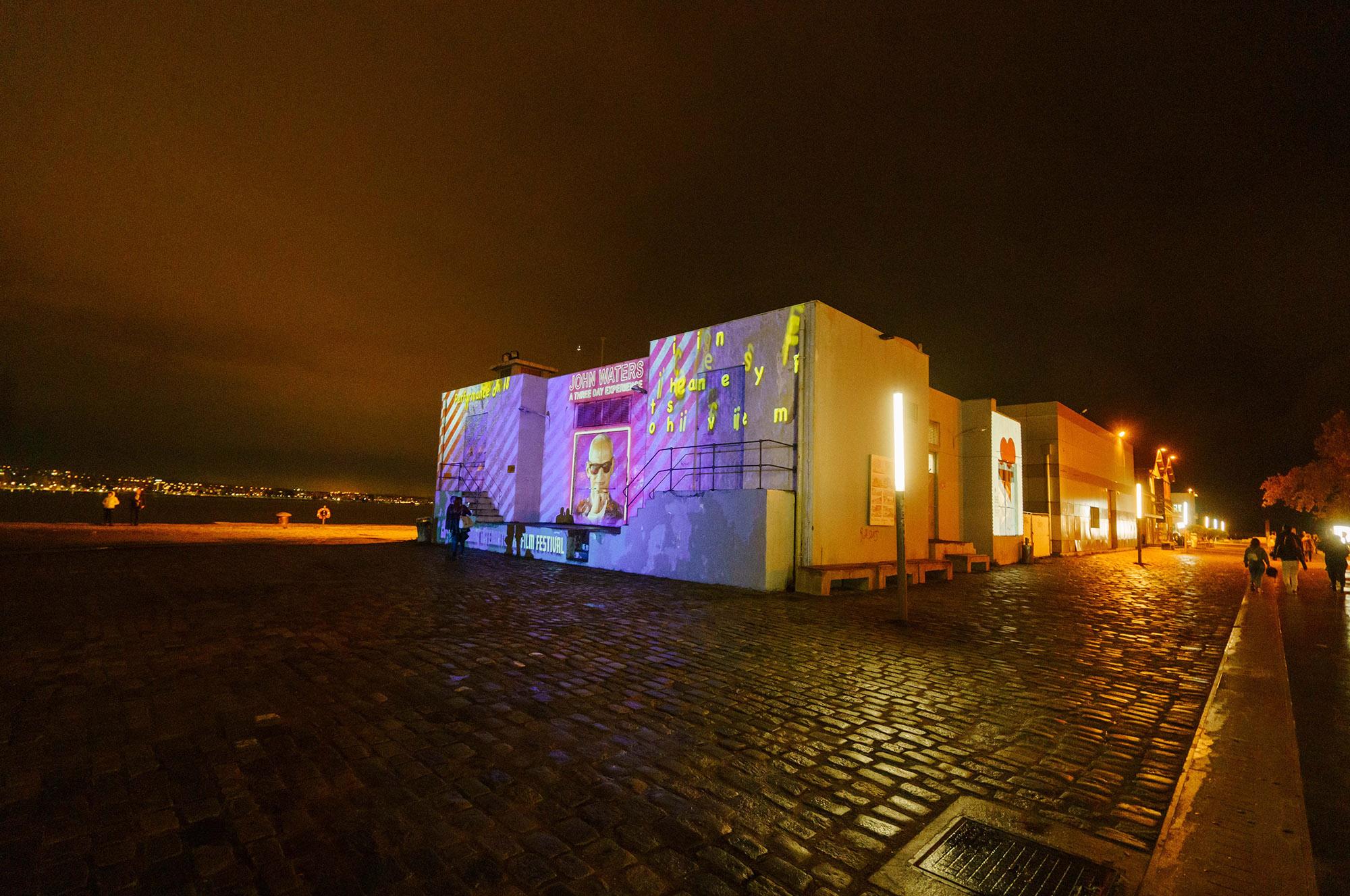 Video mapping installation byStathis Mitsiosat the Port of Thessaloniki