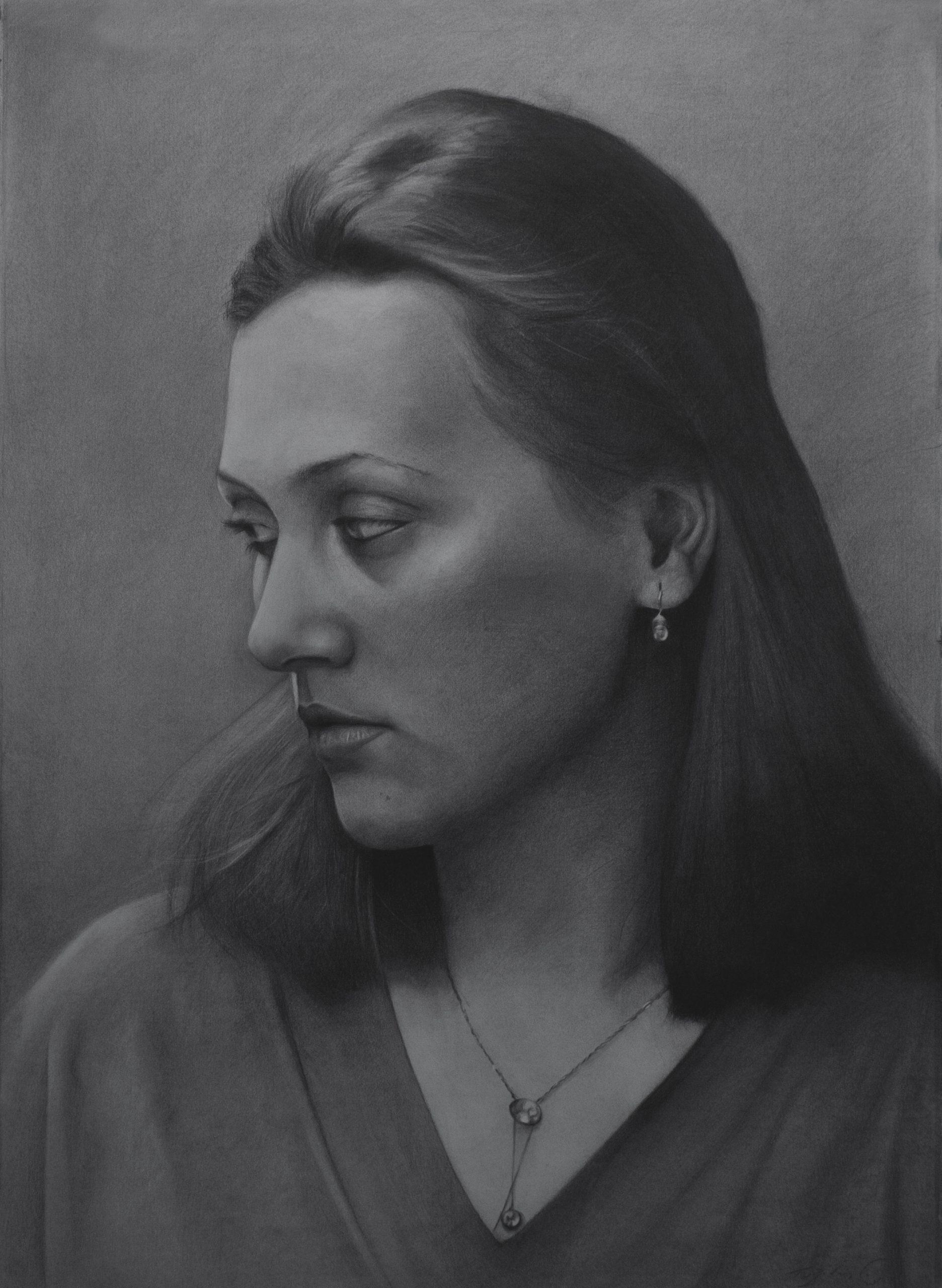Theodora, charcoal on paper 106 x 76 cm 2020